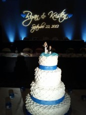 Holiday Inn Eastgate-Uplighting-Custom Monogram-Cake Table Lighting-Cell Phone