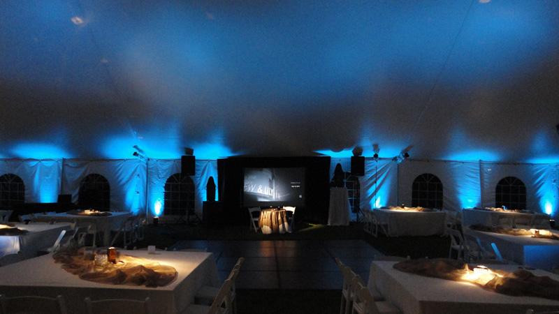 & Tent-Uplighting-Draped Screen-Pin Spot Lighting-Timu0027s Camera1